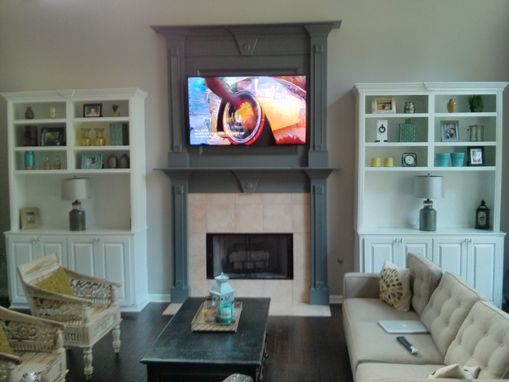 Custom Made Bookshelves With Double Mantel By Atlanta