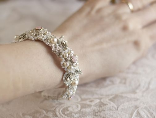 Custom Made Custom-Designed Silver Lace Bridal Bangle With Pearls, Pink Crystals