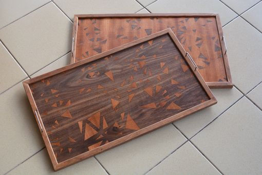 Custom Made Walnut And Cherry Serving Tray With Custom Inlay