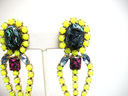 "Custom Made Neon Yellow Earrings ""Sunshine''"