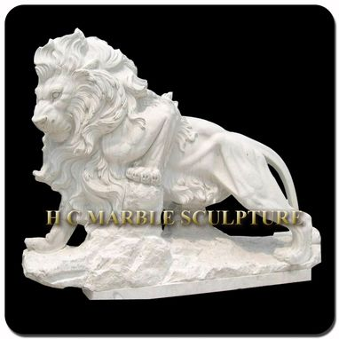 Custom Made White Marble Walking Lion Sulpture Standing On A Rock & Narrow Platform Base