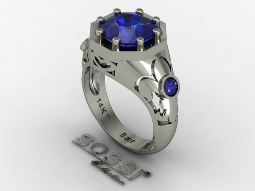 Custom Made Platinum Men's Blue Sapphire And Blue Diamond Ring