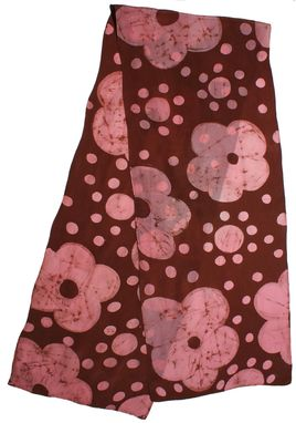 Custom Made Graphic Floral With Chocolate Polka Dot Ground