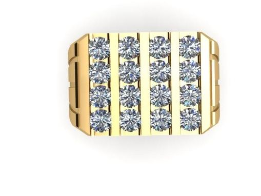 Custom Made Men's Large Rectangular  2.50 Carat Diamond Ring In Heavy 14k Yellow Gold
