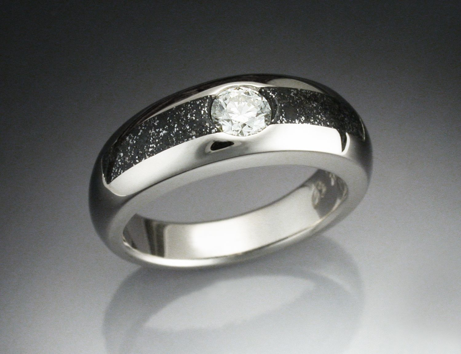wedding titanium engagement mens in rings meteorite lashbrook band