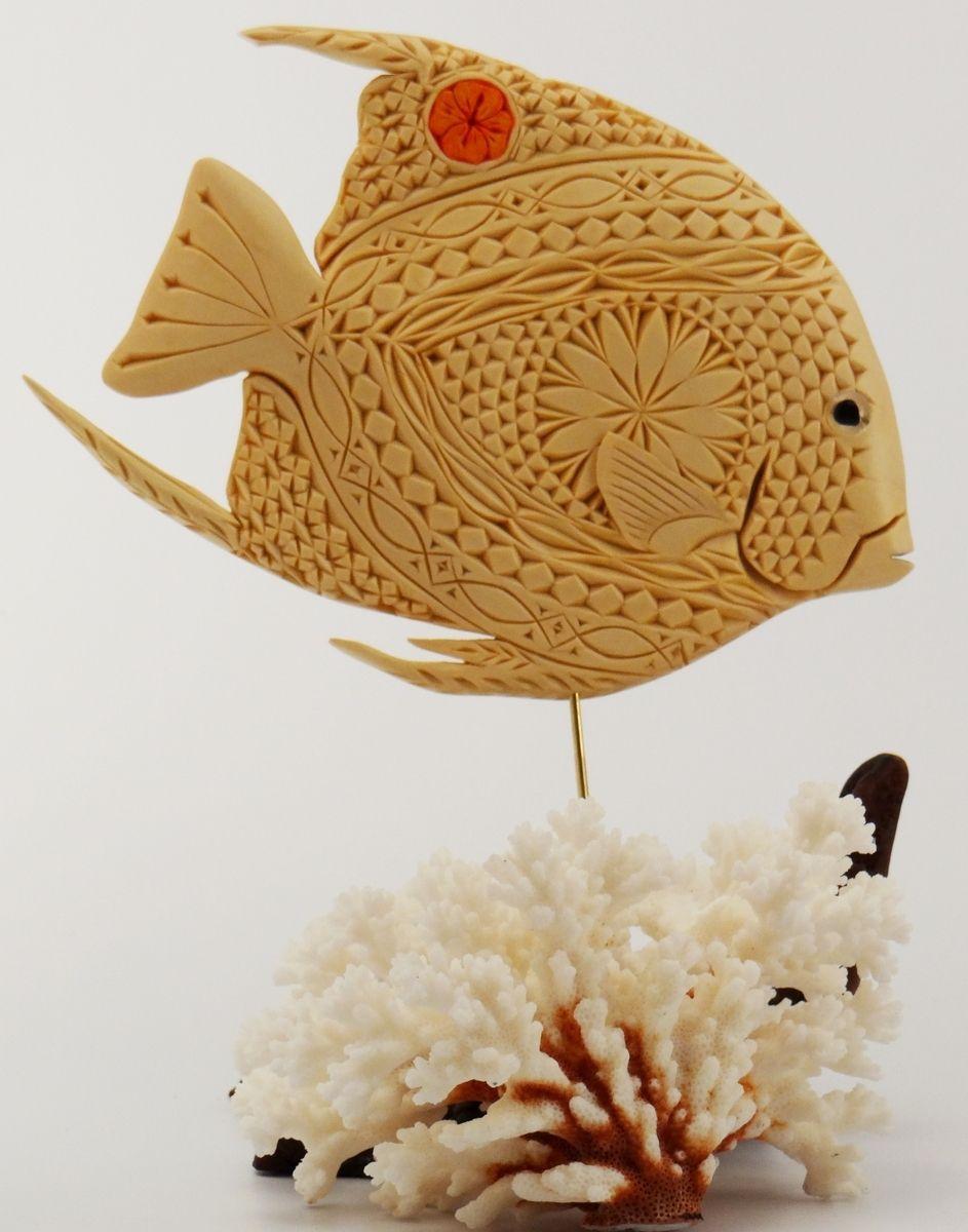 Handmade saltwater angelfish for mantel or shelf display sculpted