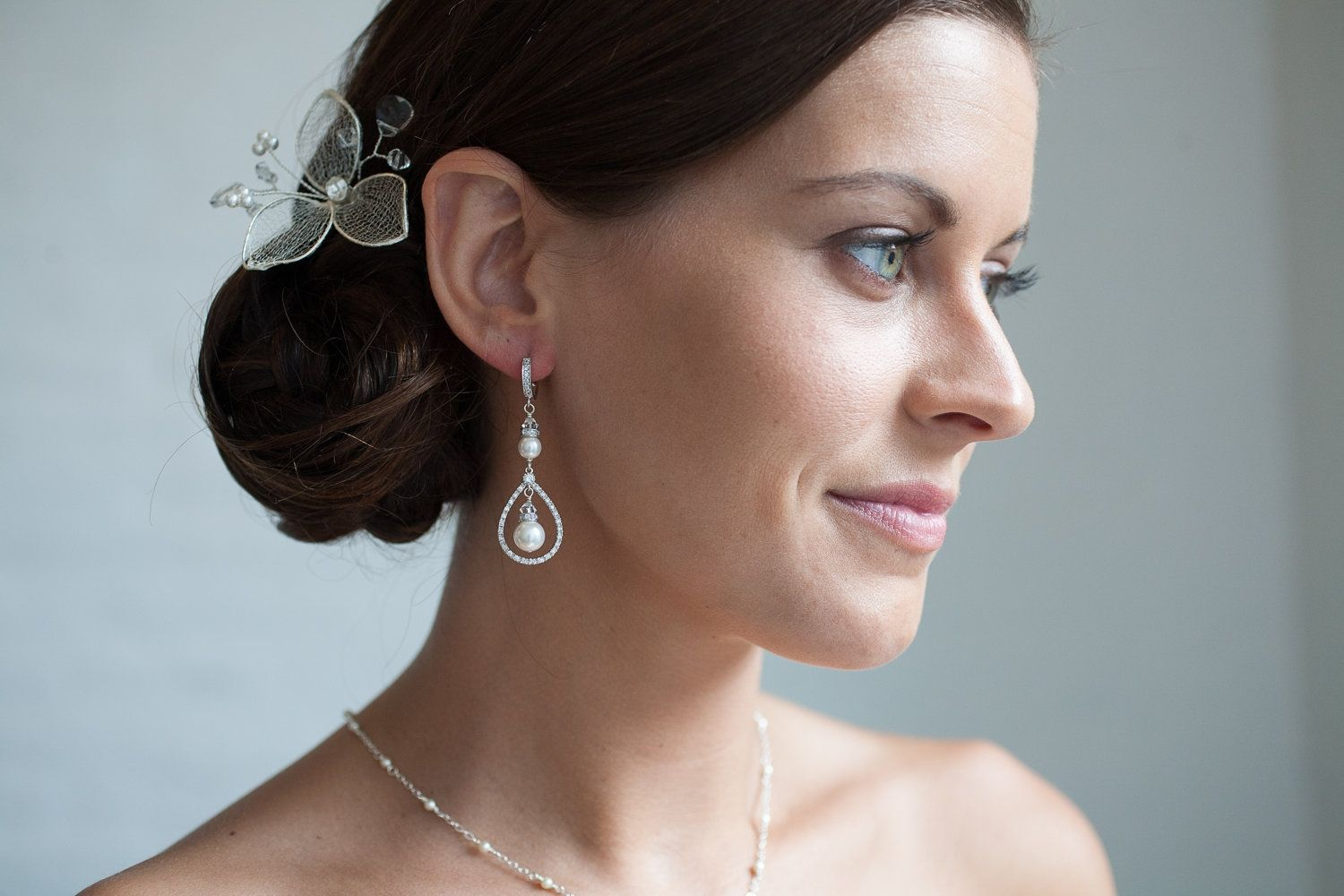 Buy A Hand Crafted Ivory Pearl Drop Earrings Bridal Wedding