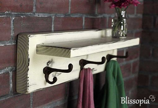 Custom Made Distressed Rustic Shelf With Antique Coat Hooks