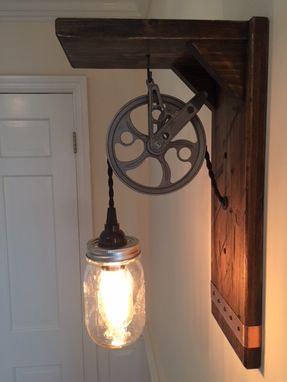 Custom Made Mason Jar Wall Sconce With Working Pulley And Vintage Edison Bulb.