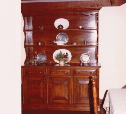 Custom Made Stained Pine Hutch With Childproof Cabinets