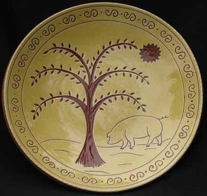 Custom Made Ceramic Plate With Tree And A Pig Underneath