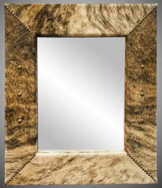 Custom Made Light Brindle Cowhide Mirror