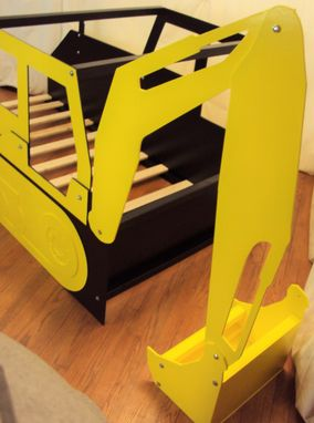 Custom Made Excavator Twin Kids Bed Frame - Handcrafted - Construction Themed Children's Bedroom Furniture