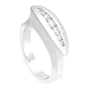 Custom Made Unique Diamond Ring In 14k White Gold, Ladies Ring, Diamond Ring