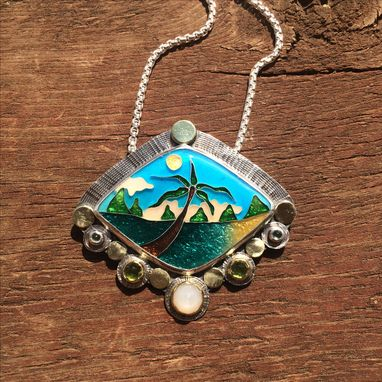 Custom Made Cloisonne Enamel Necklace, Tropical Beach Scene Necklace, Cloisonne Enamel Jewelry