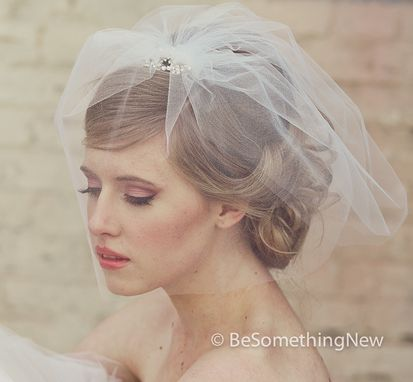 Custom Made Wedding Birdcage Veil With Flower Rhinestone Comb, Modern Wedding Hair