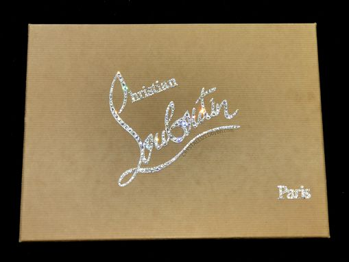 Custom Made Custom Crystallized Christian Louboutin Shoe Box Top Logo Swarovski Crystals Red Bottoms