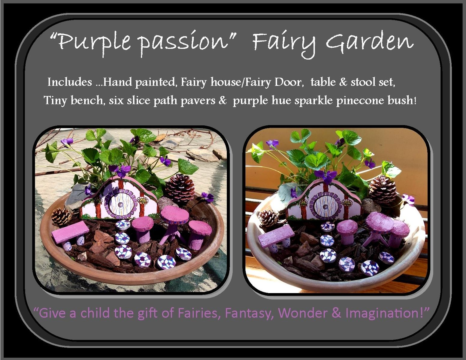 Handmade Fairy Garden Kits Fairy Garden Fairy FurniturePurple
