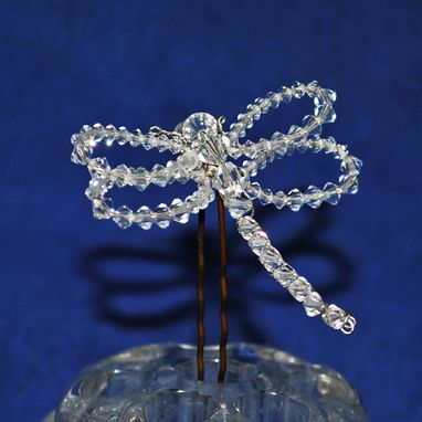 Custom Made Petite Dragonfly Swarovski Crystal Hairpin For Brides And Bridesmaids
