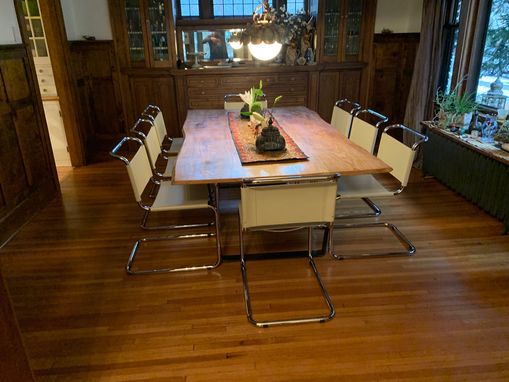Custom Made Live Edge Industrial Ash And Iron Dining Table