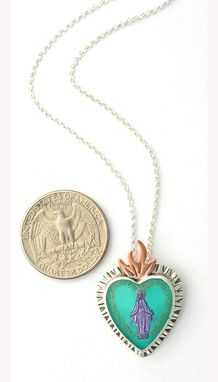 Custom Made Virgin Mary Necklace, Immaculate Heart Necklace, Handmade Vintage Glass Intaglio Necklace