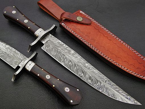 Custom Made Damascus Bowie Knife Feather Pattern14 Inches
