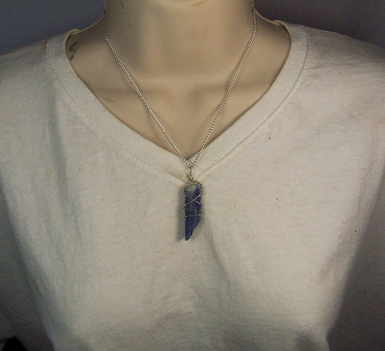 Hand Made Kyanite Wire Wrap Necklace Pendant - Sterling Silver Wire ...