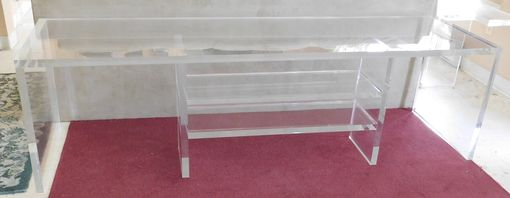 Custom Made Acrylic Console Entertainment Center With Shelves - Thick Acrylic Look - Hand Crafted Made To Order