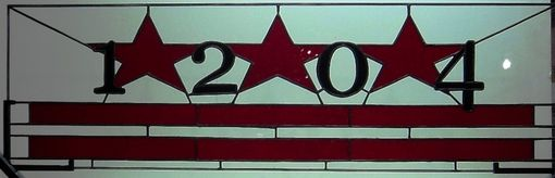 Custom Made Stained Glass Transom - Washington Dc Flag (Am-17)