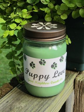 Custom Made Soy Candle, 12 Ounce, Puppy Love, Pawprints, Jar Candle, Hemp, Wood Or Cotton Wick, Green
