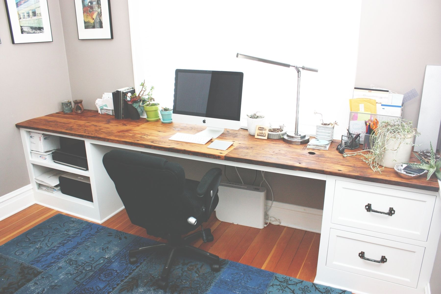 Custom Made Reclaimed Wood Desk Top With White Painted Poplar Base