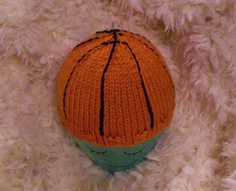 Custom Made Baby Basketball Hat In Orange And Black Knit - Choose Your Size - Great Photo Prop