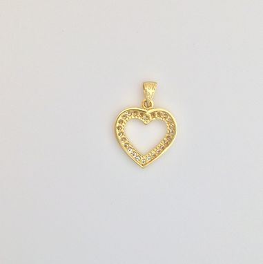 Custom Made Woman's Heart Shaped 0.89 Ct. Diamond Pendant - 18k Yellow Gold - Necklace