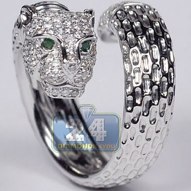 Custom Made Womens Diamond Panther Head Ring 18k White Gold 1.30 Ct Certified
