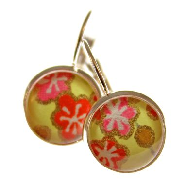 Custom Made Blossoms On Chartreuse Lever Back Earrings