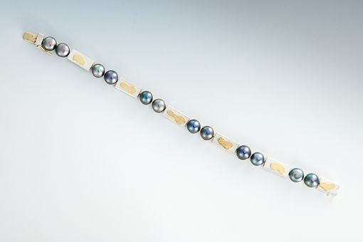 Custom Made Gold, Silver And Tahitian Pearl Bracelet