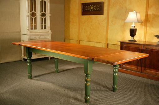 Custom Made Thick  Farm Table With Extensions With Fruitwood Finish