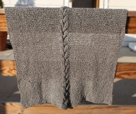 Custom Made Custom Knitted Baby Blanket - Soft Gray Cable Warm