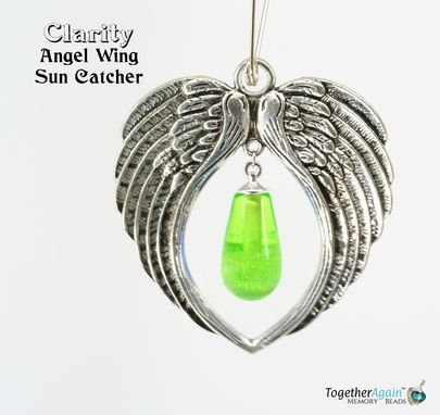 Custom Made Sun Catcher Angel Wing Cremation Glass Memorial. Add Ashes Or Hair From Cat, Dog, People
