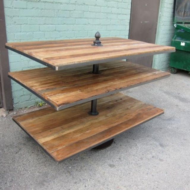 Reclaimed Wood And Iron Stacked Display Rack By