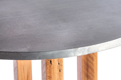 Custom Made Zinc Table  Zinc Dining Table - The Winston Round Zinc Top Dining Table