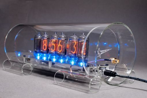 Custom Made Gps Time Sync Nixie Clock In-8-2 With Blue Floor Leds