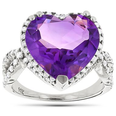 Custom Made Heart Shaped Amethyst Ring With Diamonds