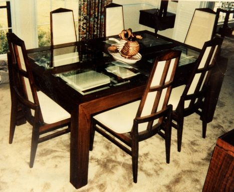 Custom Made Walnut & Beveled Glass In A Danish Style Along With Chairs