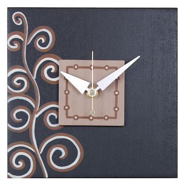 Custom Made Square Wall Clock - Climbing Vine - 7.5 X 7.5 - Black-Brown - Contemporary Art Clock