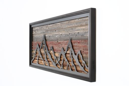 Custom Made Fiery Sunset Mountain Landscape Made Of Steel And Reclaimed Barnwood