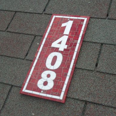 Custom Made Vertical Mosaic Address Plaque In Red And White Stained Glass, Mosaic House Number