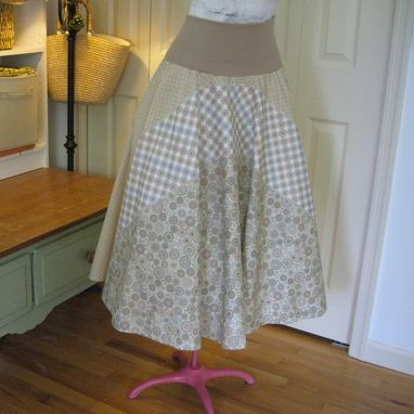 Custom Made Circle Skirt With Yoga Style Knit Waistband ~ 3 Fabric Layer Patchwork
