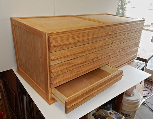Custom Made Stamp Collector's Flat File Cabinet