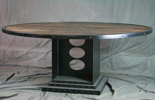 Custom Made Vintage Industrial Dining Table, Round, Reclaimed Wood, Conference Table - Office Furniture